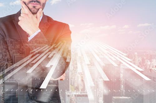 Fototapeta Thinking businessman in city, interface obraz na płótnie