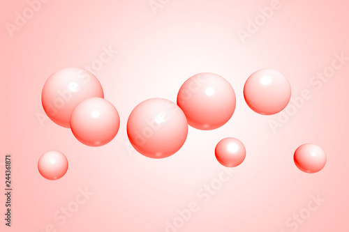Fototapety, obrazy: Abstract realistic spheres, glossy plastic balls on pink, living coral background, 3d rendering