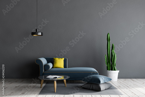 Gray living room with sofa and table