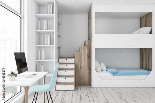 White bunk bed bedroom interior, computer desk Canvas