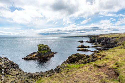 Fotografie, Obraz  Landscape view rocks in ocean on coast in Hellnar National park Snaefellsnes Pen