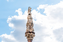 Westminster Scholars War Memorial, Or Crimea And Indian Mutiny Monument Near Westminster Abbey In London, UK Isolated Closeup And Blue Sky In Summer
