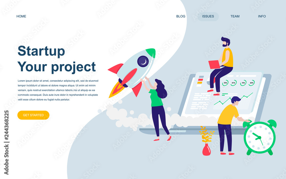 Photo  Modern flat web page design template of Startup Your Project decorated people character for website and mobile website development