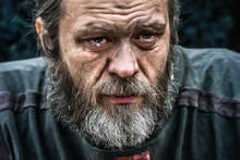 Homeless Man Crying Portrait C...