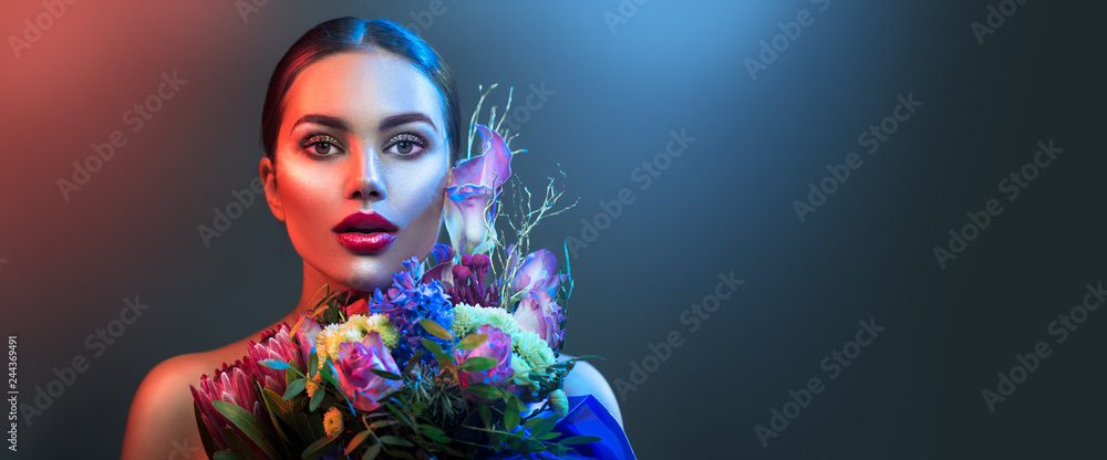 Fototapety, obrazy: Fashion model woman in neon light, beautiful sexy girl lips with colorful bright fluorescent makeup