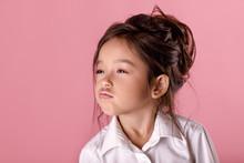 Cute Proud Little Girl In Whit...