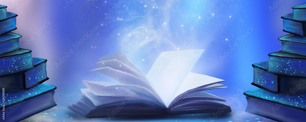 Fototapety, obrazy: An open book with a magical fantasy. Night view illustration with a book. The magical power of reading and words, knowledge. Abstract background with a book.
