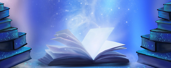 An open book with a magical fantasy. Night view illustration with a book. The...