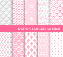 Ten Spring Seamless Patterns. Romantic Pink Backgrounds For Wedding Or Mother's Day. Endless Delicate Texture For Wallpaper, Web Page, Wrapping Paper. Retro Style. Wave, Flower, Curl, Heart, Tile