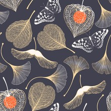 Seamless Floral Pattern With Ginkgo Biloba Leaves