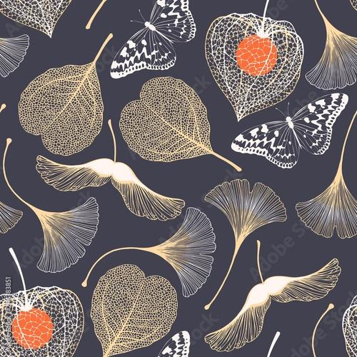 fototapeta na lodówkę Seamless floral pattern with ginkgo biloba leaves
