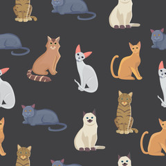 Vector cat seamless pattern. Cute kitten in cartoon style