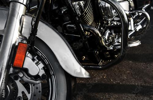 Fényképezés  chromed motorcycle. chopper, handmade bike, motorcycle close-up.