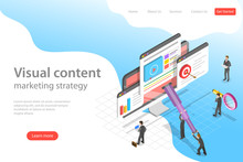 Isometric Flat Vector Landing Page Template Of Visual Data Marketing Strategy, Data Driven Campaign, Analyzing Statistics.