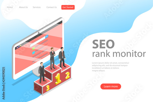 Fotografía Flat isometric vector landing page template of seo ranking monitor, website optimization marketing, web analytics