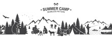 Summer Camp Seamless Pattern. Vector Illustration.