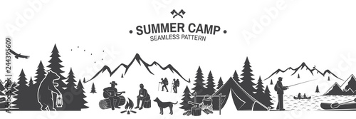 Leinwand Poster Summer camp seamless pattern. Vector illustration.