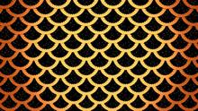 Golden Fish Scales On Black Cells Pattern Marine Background 3D Illustration