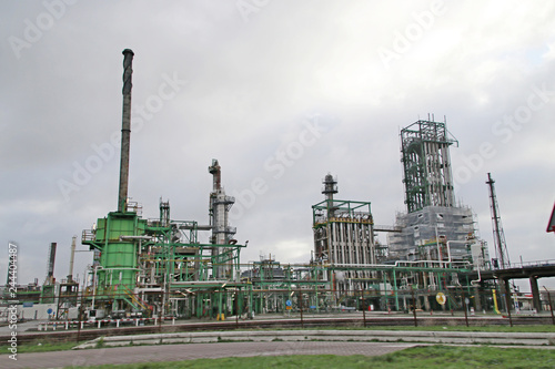 Photo  Refinery of Exxonmobil Esso in the Botlek harbor in the Port of Rotterdam in the