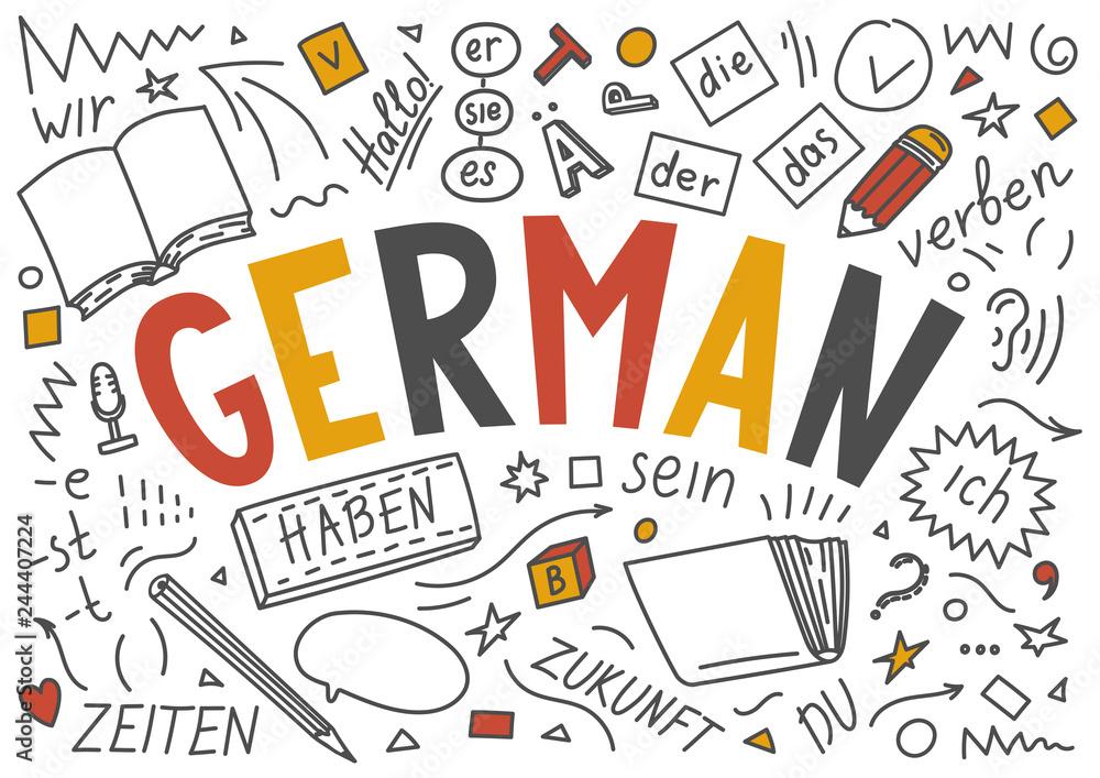 Fototapeta German language hand drawn doodles and lettering.
