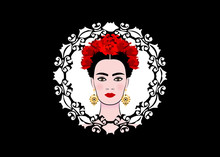Portrait Of The Young Beautiful Latin America Woman With A Traditional Hairstyle. Spanish Style Model. Mexican Gold Earrings Handmade With Crown Of Red Flowers. Laser Cutting Diadem Black Background