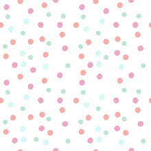 Vector Seamless Pattern Of Pastel Hand Drawn Dots. Circle Confetti Of Pink, Blue And Green Colours On White Background.