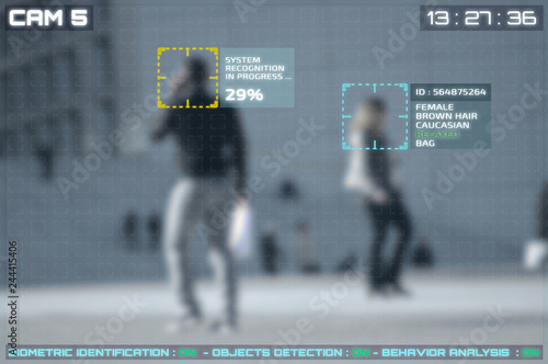 Fotografía  Simulation of a screen of cctv cameras with facial recognition