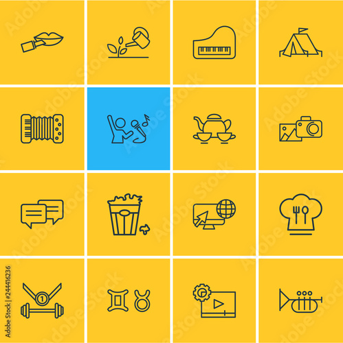 Fotografía  Vector illustration of 16 hobby icons line style