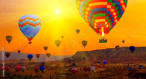 Hot air balloons Spring sunrise mountain