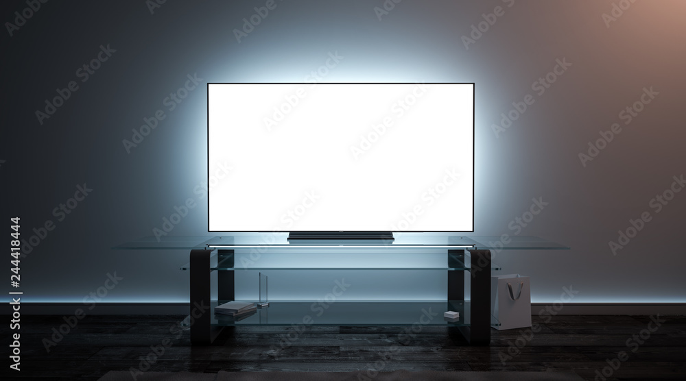 Fototapeta Blank white tv screen interior in darkness mockup, front view, 3d rendering. Empty telly plasma display in living room mock up. Clear smart panel monitor on glass shelf template.