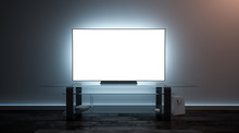 Blank White Tv Screen Interior...