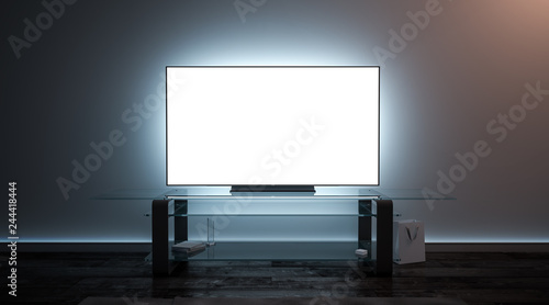 Fotomural Blank white tv screen interior in darkness mockup, front view, 3d rendering