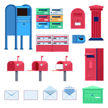 Post Mailbox Vector Flat Illus...