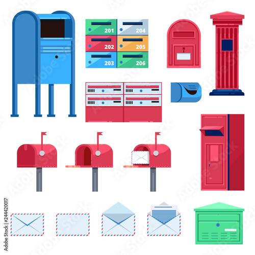 Fototapeta Post mailbox vector flat illustration