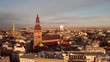 Aerial panoramic view of the Riga Dome Cathedral during winter sunset. The main cathedral in the old town. Beautiful Latvia.