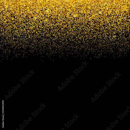 Gold Confetti On Black Background Falling Golden Dots