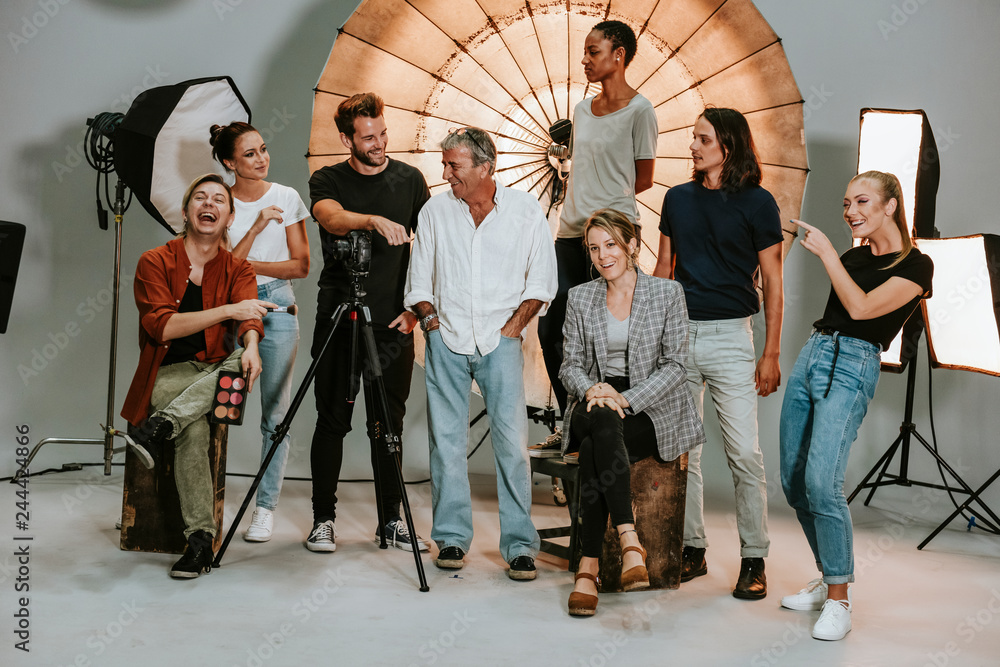 Fototapety, obrazy: Portrait of a shoot production team