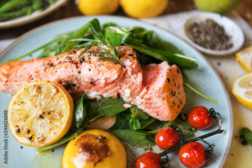 Grilled salmon food photography recipe idea