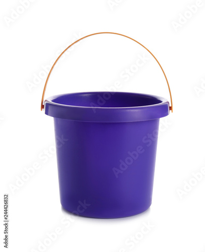 Toy bucket for sand on white background Wall mural