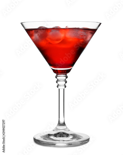 Glass of martini cocktail with ice cubes on white background