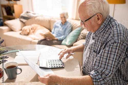 Obraz Side view portrait of senior man filling forms and paying taxes while sitting at table with elderly woman and pet dog sitting on couch in background, copy space - fototapety do salonu
