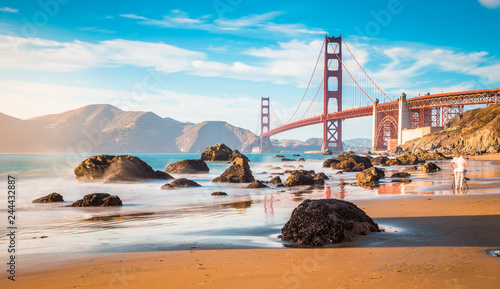 Plakat Golden Gate Bridge przy zmierzchem, San Fransisco, Kalifornia, usa