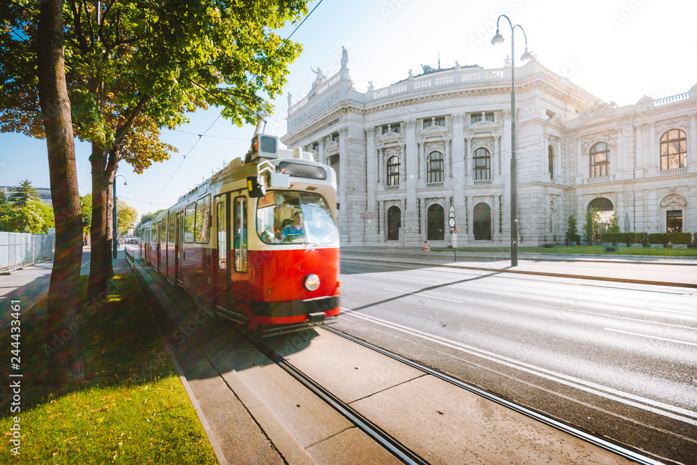 Fototapety, obrazy: Vienna tram with Burgtheater at sunrise, Vienna, Austria