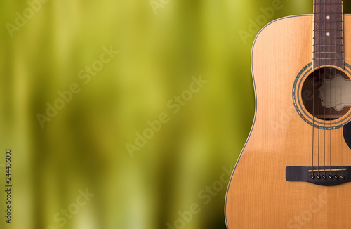 Guitar, wood, musical instrument on a natural wood floor, clipping technology - 244436003