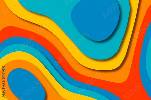 Foto auf AluDibond Abstrakte Welle Paper art cartoon abstract waves. Paper carve background. Modern origami design template.Paper cut background. Abstract realistic paper decoration for design textured
