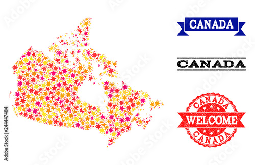 Colored Map Of Canada.Mosaic Map Of Canada Formed With Colored Flat Stars And Grunge