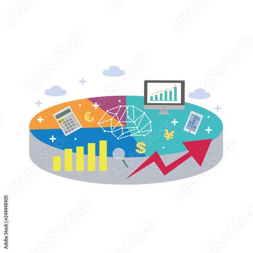 Fotografia, Obraz  AI ビジネス コンセプト グラフ イラスト