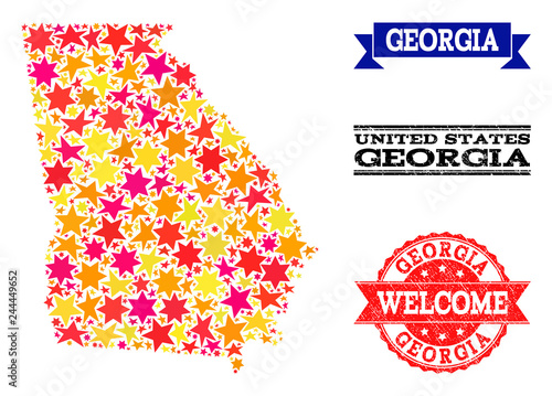 Map Of Georgia And Surrounding States.Mosaic Map Of Georgia State Formed With Colored Flat Stars And