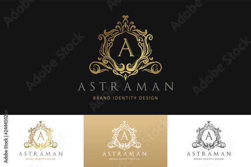 Foto  Luxury Logo Template  with Luxurious Golden monogram crest  and baroque style design for wedding invitation, Hotel, Boutique brand identity