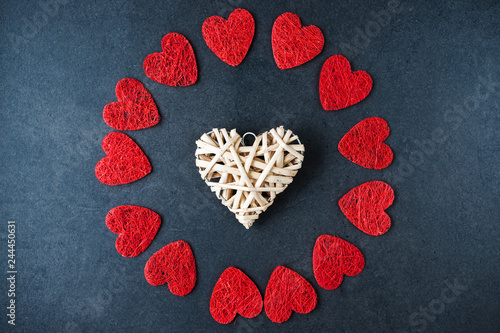 Fotografia  Collection of decorative hearts in form of round